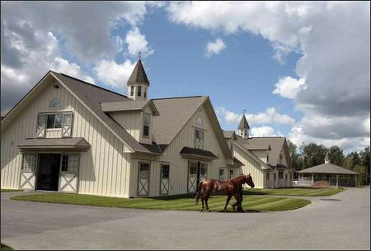 There are 17 buildings at the Pegasus compound, including the well-appointed barns featuring Kentucky-like cupolas, a main office and accommodations for grooms.