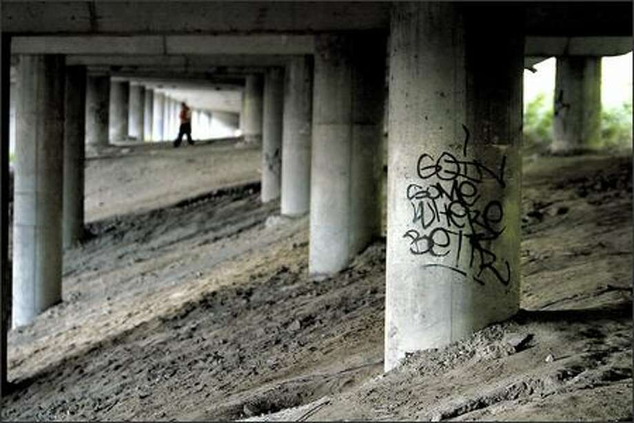 "Graffiti reading ""Goin somewhere bettr"" is evident Tuesday under Interstate 5 near South Massachusetts Street in Seattle not far from where Isaac Palmer, 62, was struck and killed Saturday by a brush-clearing tractor while he was sleeping unseen in blackberry brambles. Transients frequenlty take refuge there. Photo: Joshua Trujillo/Seattle Post-Intelligencer"