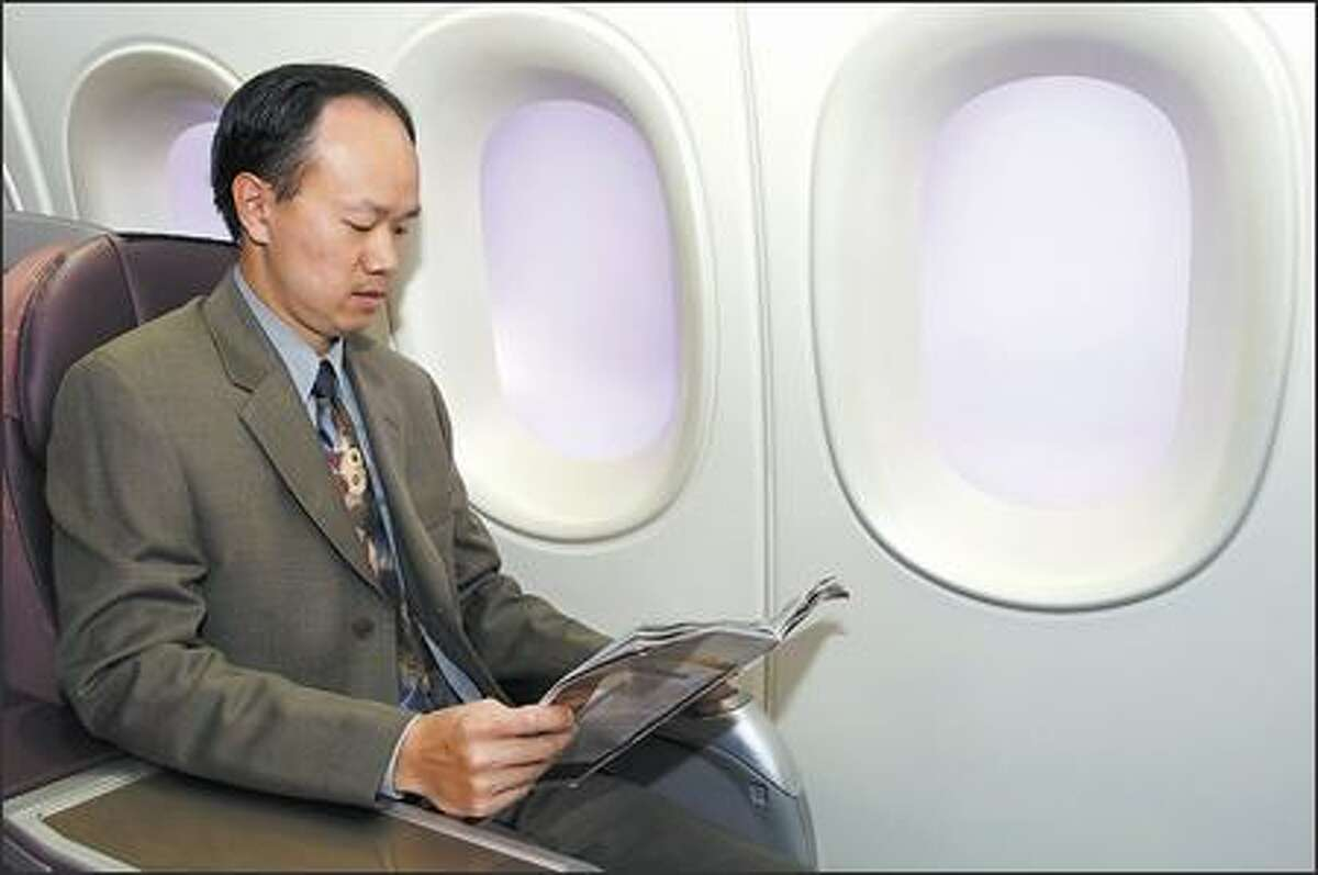Large windows in the 787 Dreamliner can be seen in the cabin mockup that Boeing uses to show customers.