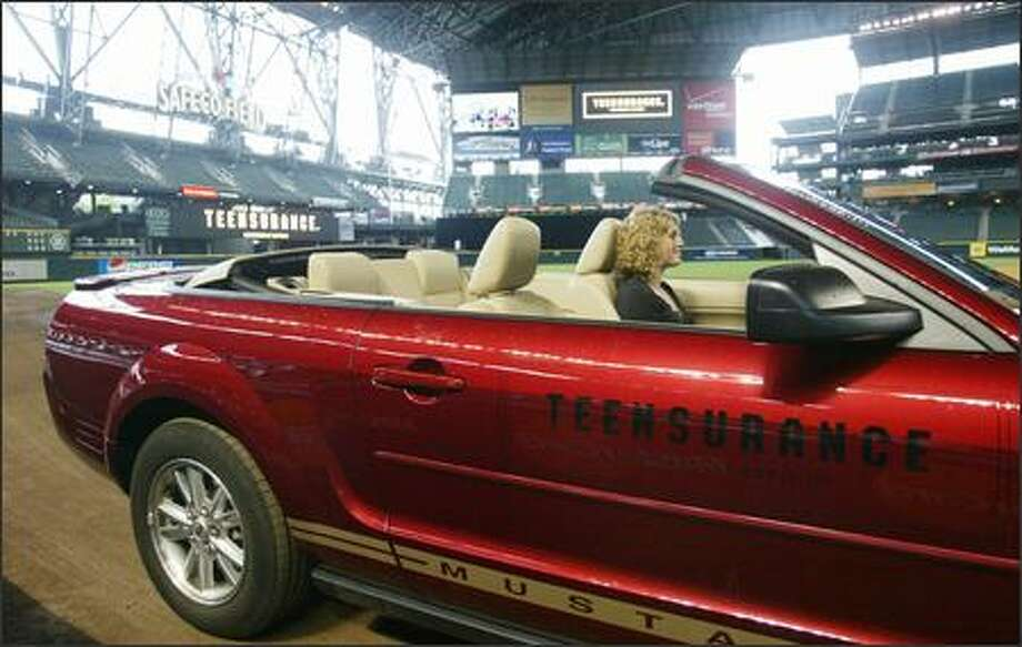 This car, displayed at Safeco Field, has a device that monitors its movements through the Teensurance program offered by Safeco. Photo: Paul Joseph Brown/Seattle Post-Intelligencer