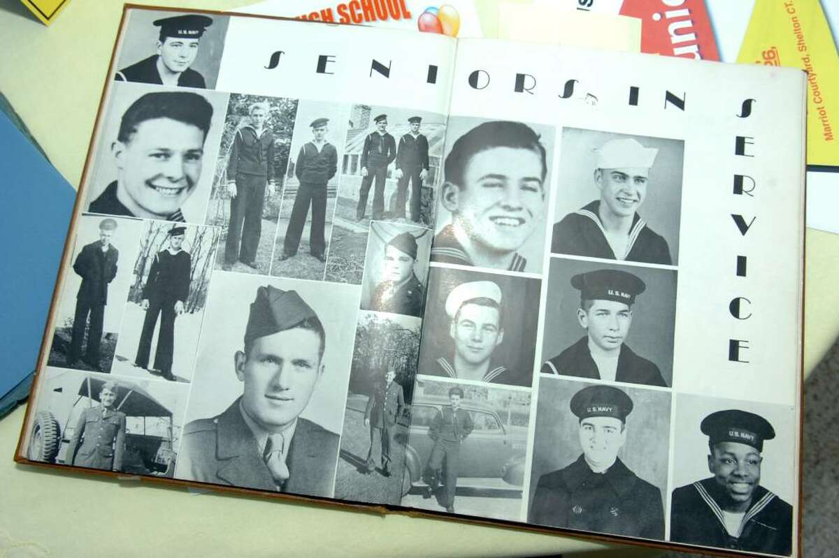 A page in the 1944 Stratford High School yearbook shows seniors who enlisted in the military before their graduation.