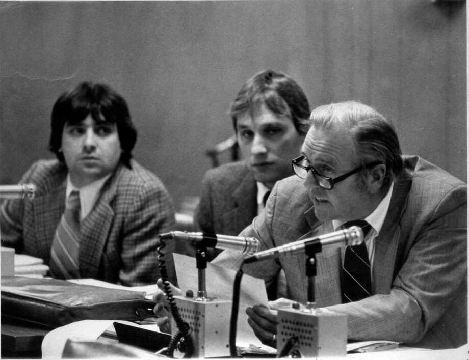 Engineers Michael Pavia (left), and Robert Boley (center) and Attorney E. Gaynor Brennan Jr. at an Environmental Protection Board meeting circa 1977. Photo: File Photo / Stamford Advocate File Photo