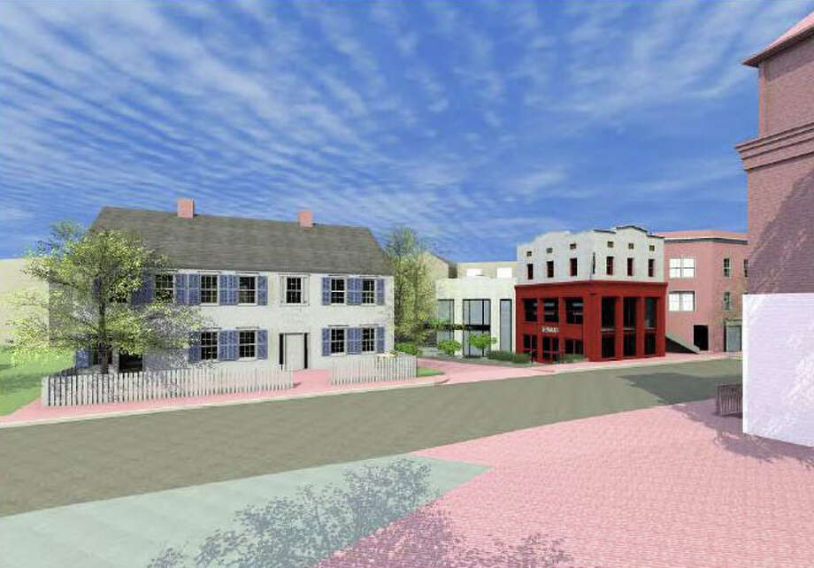 Pictured is a rendering of the David Waldman-backed project that includes, among other things, new businesses at 101-107 Post Road, a courtyard on Church Lane between those buildings and a restaurant at the historic Sherwood Mansion, which will have approval for outdoor dining, and a pathway linking the Post Road and Church Lane. Photo: Contributed Photo / Westport News