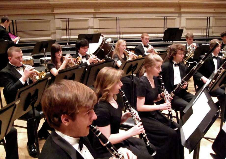 "The Greenwich High School wind ensemble performed on Sunday, March 21, 2011, at Carnegie Hall in New York City as part of the ""Masterworks Festival Chorus""  presented by Manhattan Concert Productions. Photo: Contributed Photo / Greenwich Time Contributed"