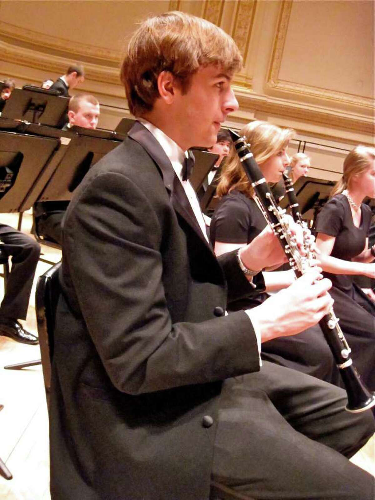 Simon Tebbe of The Greenwich High School wind ensemble performed on Sunday, March 21, 2011, at Carnegie Hall in New York City as part of the