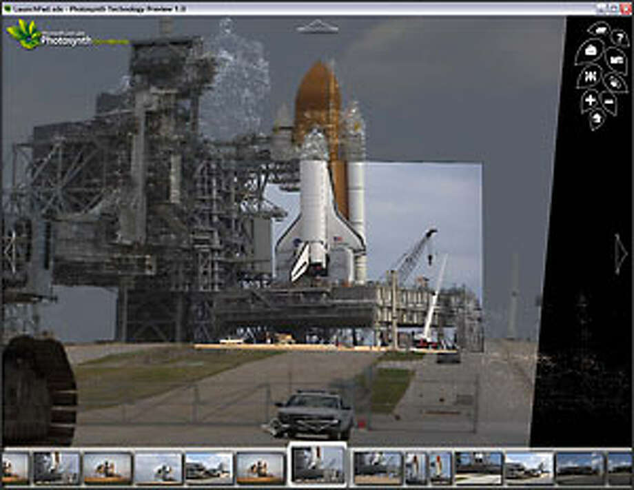 Microsoft's Photosynth photo presentation program shows a unique view of the space shuttle Endeavour as it's being prepped for launch. Photo: Microsoft