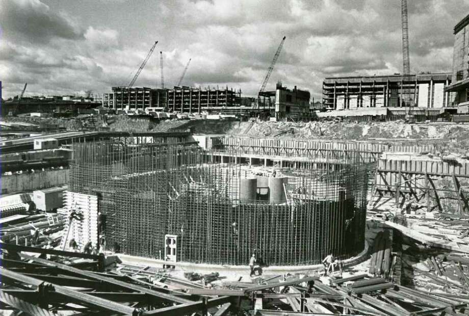 Foundation of The Egg is constructed at Empire State Plaza, undated. (Times Union archive)