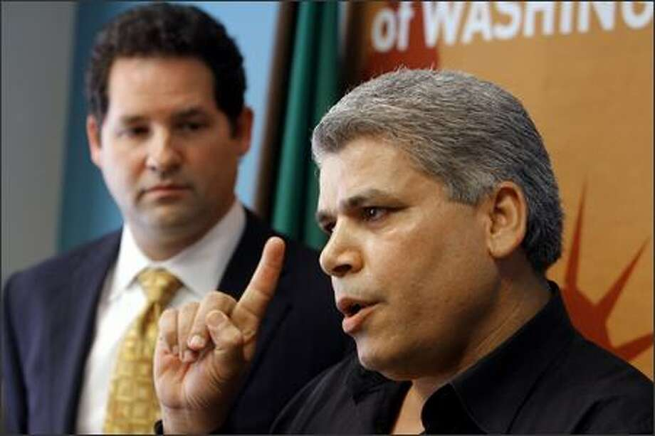 Abdulameer Yousef Habeeb, 41, an Iraqi immigrant, talks to reporters at a news conference at the ACLU office in Seattle on Thursday. He agreed to a U.S. government settlement of his lawsuit for his wrongful arrest and incarceration. Photo: Gilbert W. Arias/Seattle Post-Intelligencer