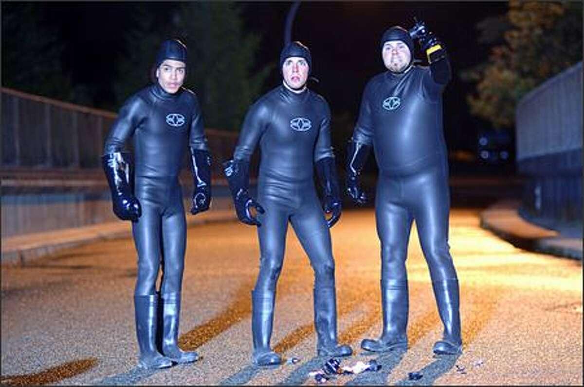 "Regular joes (from left, Rick Gonzalez, Bret Harrison, Tyler Labine) get superpowered in ""Reaper."""