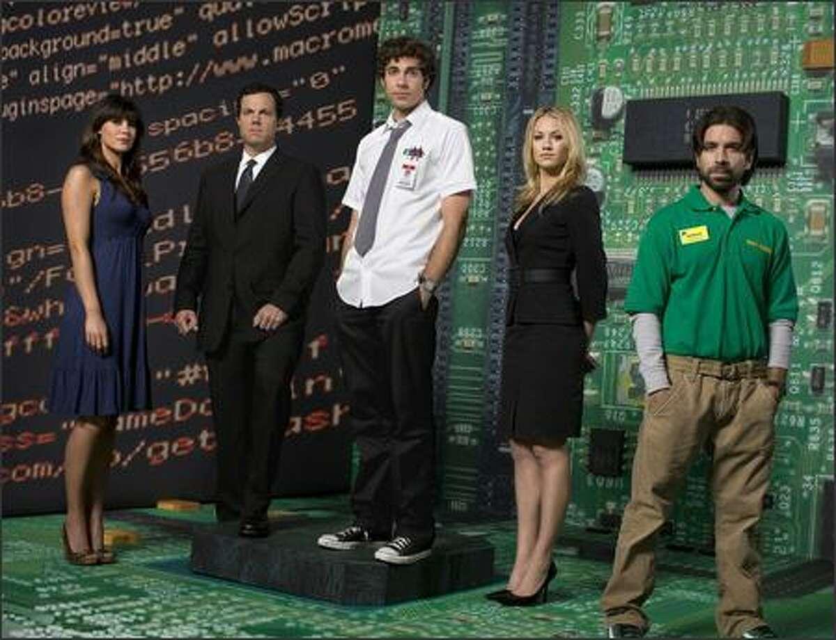 "'Chuck,' starring, from left, Sarah Lancaster, Adam Baldwin, Zachary Levi, Yvonne Strahovski and Joshua Gomez, will lead into ""Heroes."""