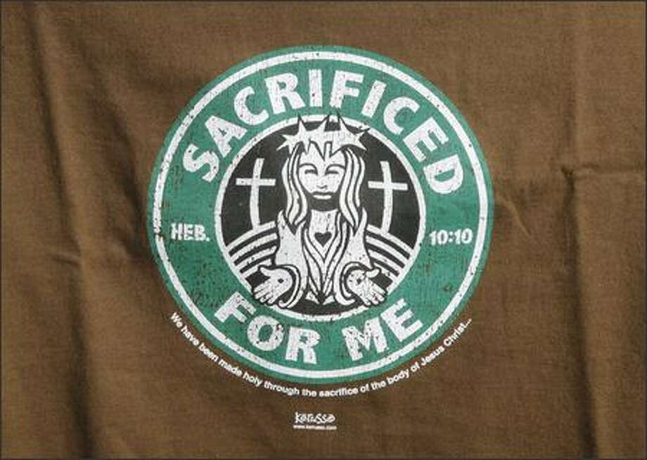 The familiar Starbucks logo gets a new central figure -- Jesus -- on Christian t-shirts. Photo: /
