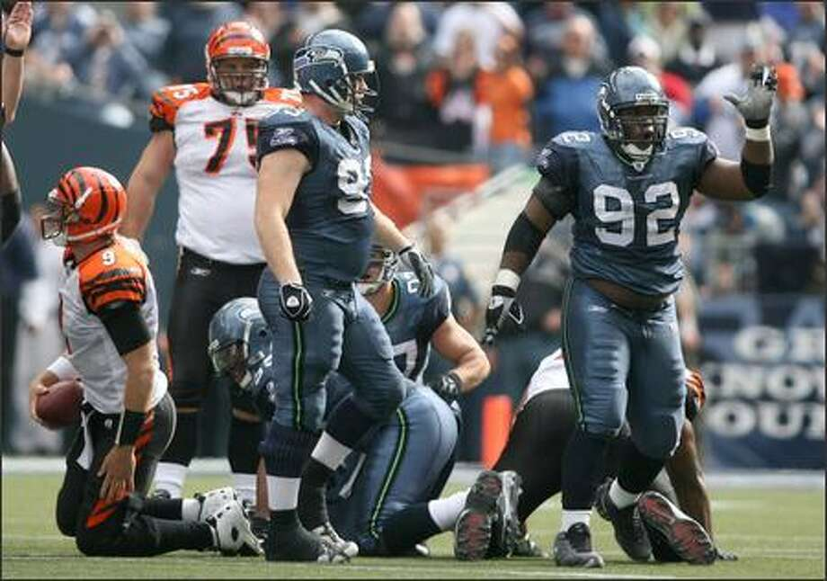 "Seahawks rookie Brandon Mebane (92) does ""a little dance I got from the Bay Area"" after posting his first NFL sack against Cincinnati. Photo: Scott Eklund/Seattle Post-Intelligencer"