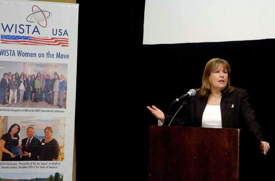 Suzanne Williams addresses the opening of the Connecticut Maritime Association's annual event at the Stamford Hilton in Stamford, Conn. on Monday march 21, 2011. She is discussing international piracy. Photo: Dru Nadler / Stamford Advocate Freelance