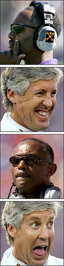 USC coach Pete Carroll, second and fourth photos, presents a playful contrast to the stern sideline demeanor of Washington coach Tyrone Willingham. Photo: AP AND GETTY IMAGES PHOTOS