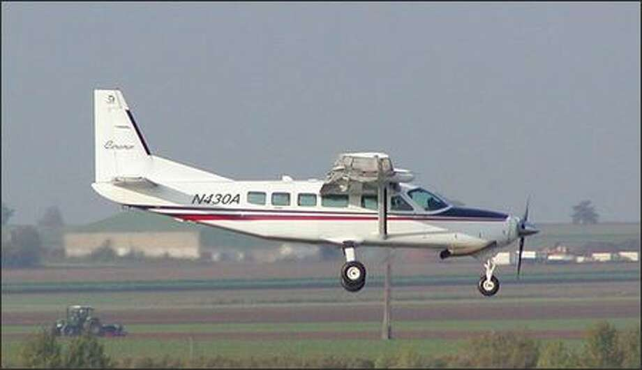 The Cessna 208 Grand Caravan that was reported missing overnight Sunday on a flight from Boise, Idaho, to Shelton, is shown in this undated photo from Kapowsin Air Sports of Shelton. Photo: /