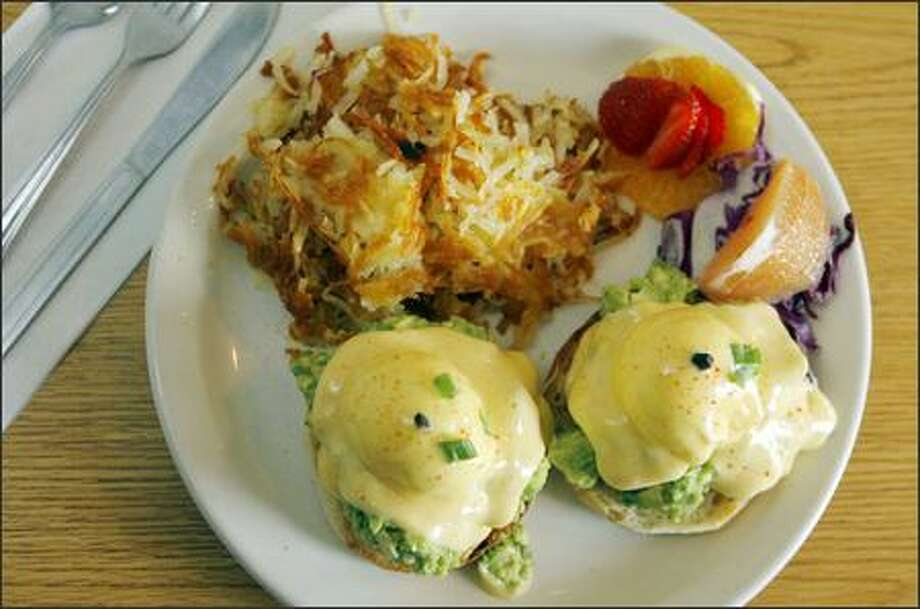 Eggs Californian is one of six variations of eggs Benedict served in style at Glo's. The cafe makes the exceptional hollandaise sauce fresh every morning. Photo: Gilbert W. Arias/Seattle Post-Intelligencer