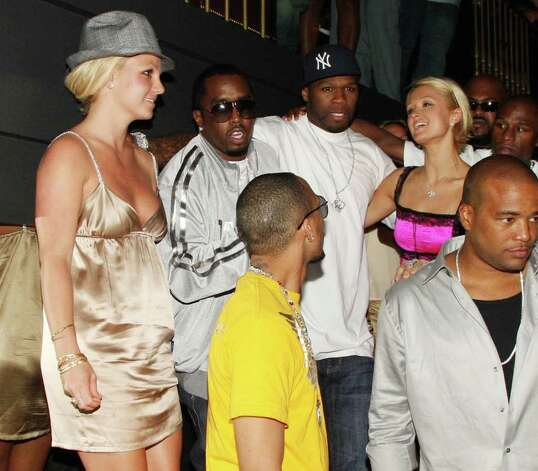 "Britney Spears, Sean ""Diddy"" Combs, 50 Cent, Paris Hilton and Floyd Mayweather Jr. attend the 50 Cent record release party at The Hard Rock Casino on Sept. 8, 2007 in Las Vegas, Saturday, Sept. 8, 2007.  The Hard Rock is celebrating Rolling Stone Magazine's 40th Anniversary during MTV Video Music Awards weekend. Photo: Chris Polk, AP / R -Chris Polk"