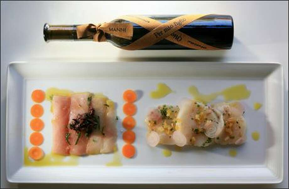 One of the world's most expensive olive oils, Manni Per Mio Figlio (pictured above), gives flavor to Wilson's raw fish dish with Japanese hamachi and sea scallops. Photo: DAN DELONG/P-I