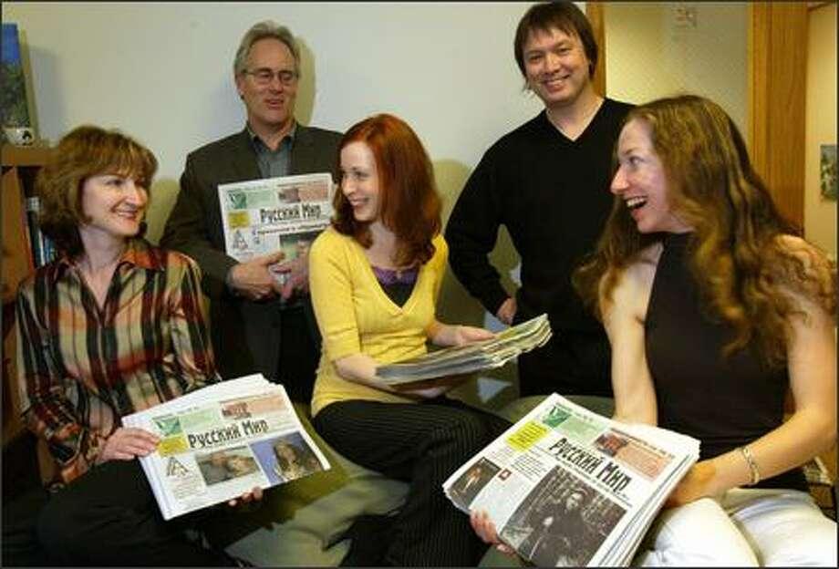 The staff of Russki Mir, from left: Alla Glagoleva, Dan Newton, Anna Cherkasova, Alexander Cherkasov and Julia Ochs. Photo: Karen Ducey/Seattle Post-Intelligencer