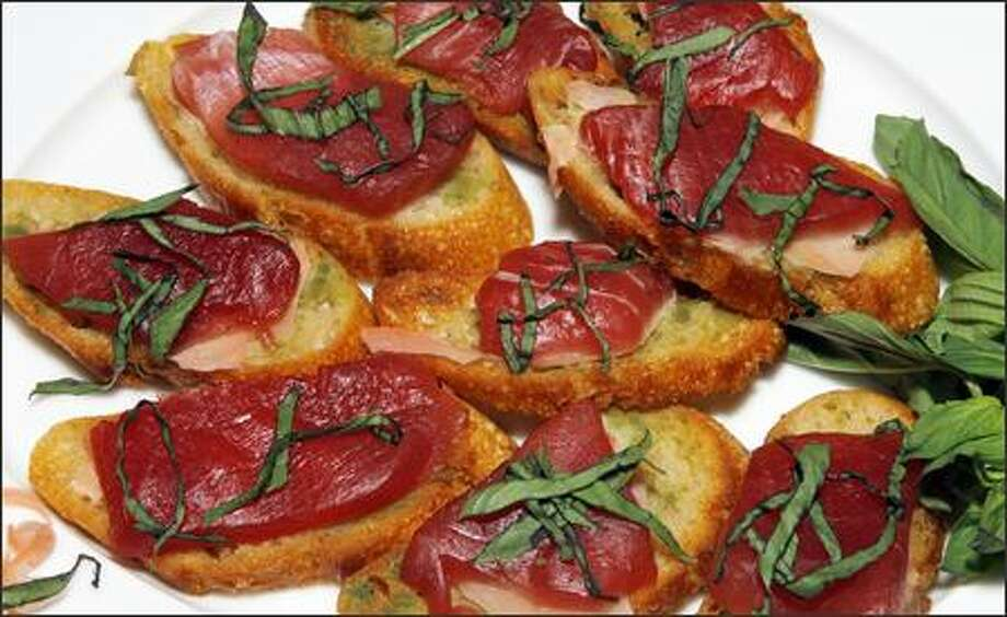 Jim Catechi's Ahi Bruschetta, an appetizer fit for company Photo: GILBERT W. ARIAS/P-I