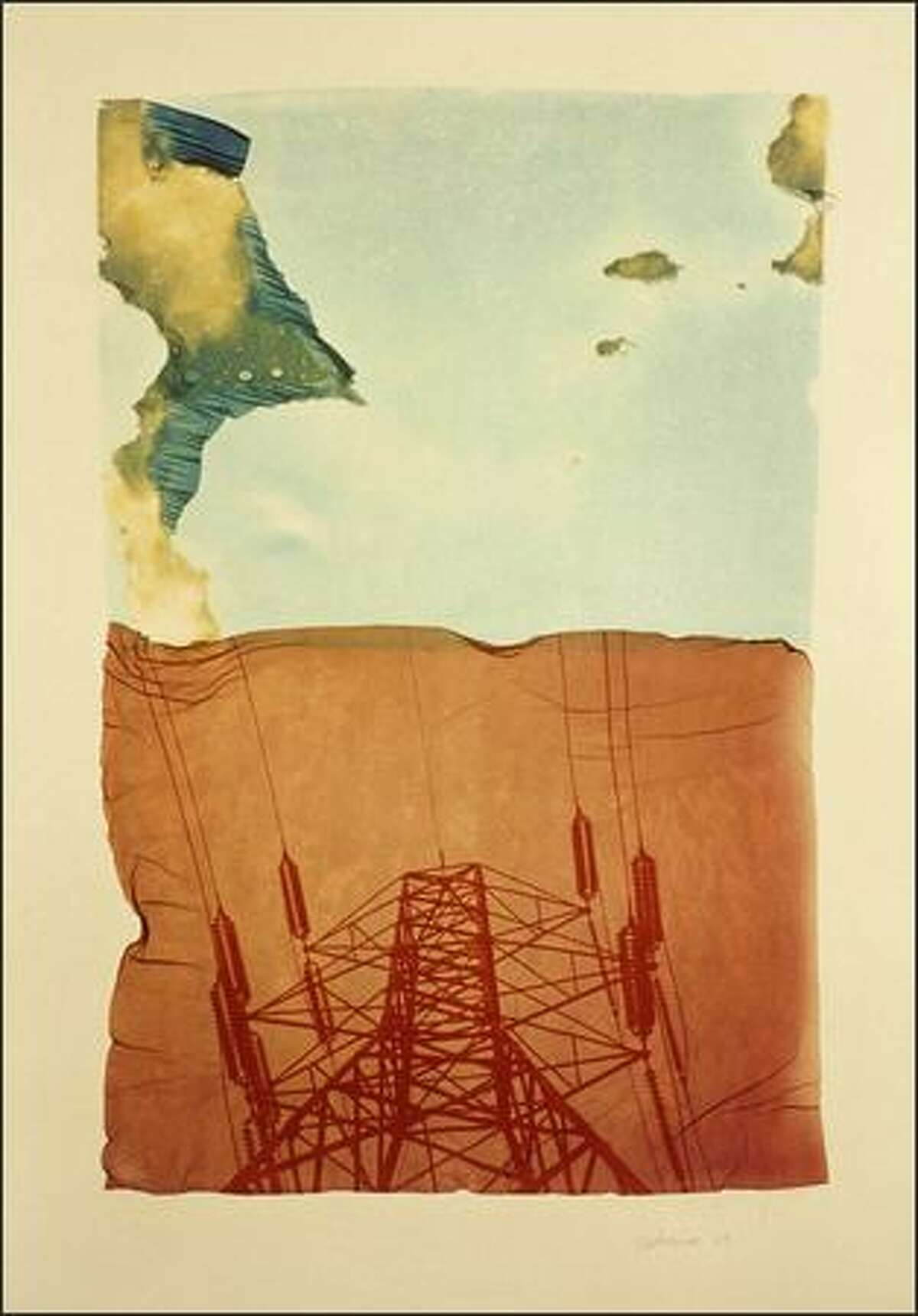 Shirley Scheier often employs images of electrical transmission towers in her art. In Snohomish,