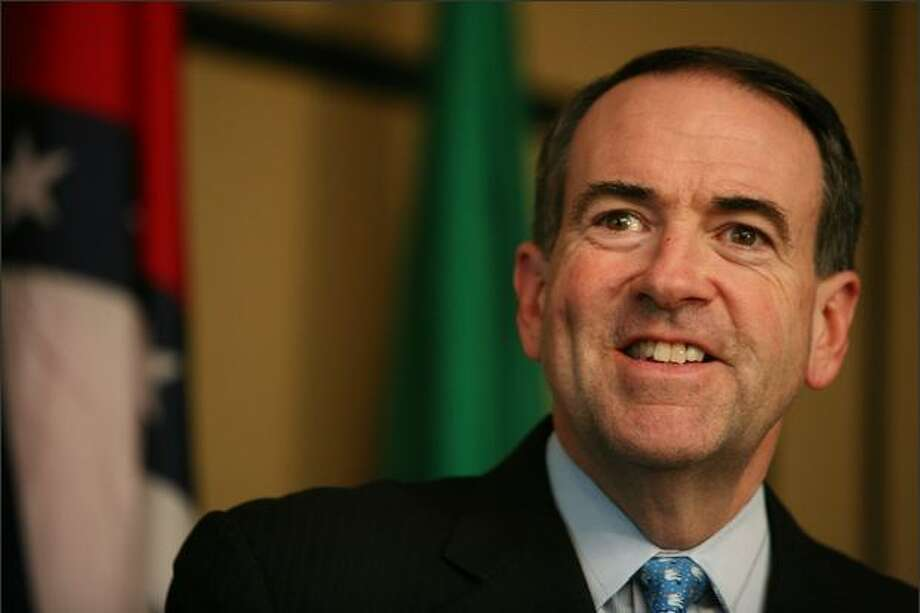 In a visit to the Eastside on Thursday, Mike Huckabee touched on subjects such as his faith, preventive-health programs, the importance of good education and the Iraq war. Photo: Paul Joseph Brown/Seattle Post-Intelligencer