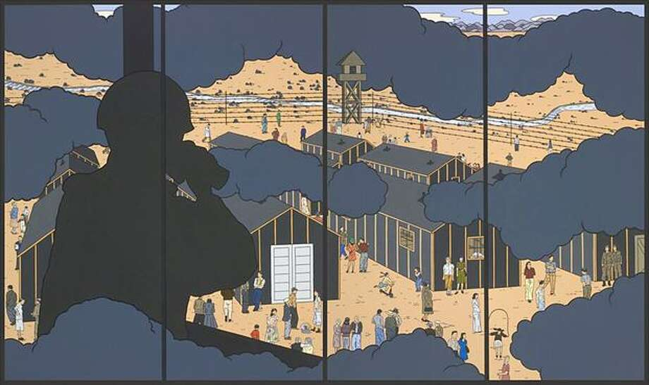 """American Infamy #2"" has the formal economy and panoramic worldview of classic Japanese landscape screens, to which its four-part paneling alludes. Photo: /"