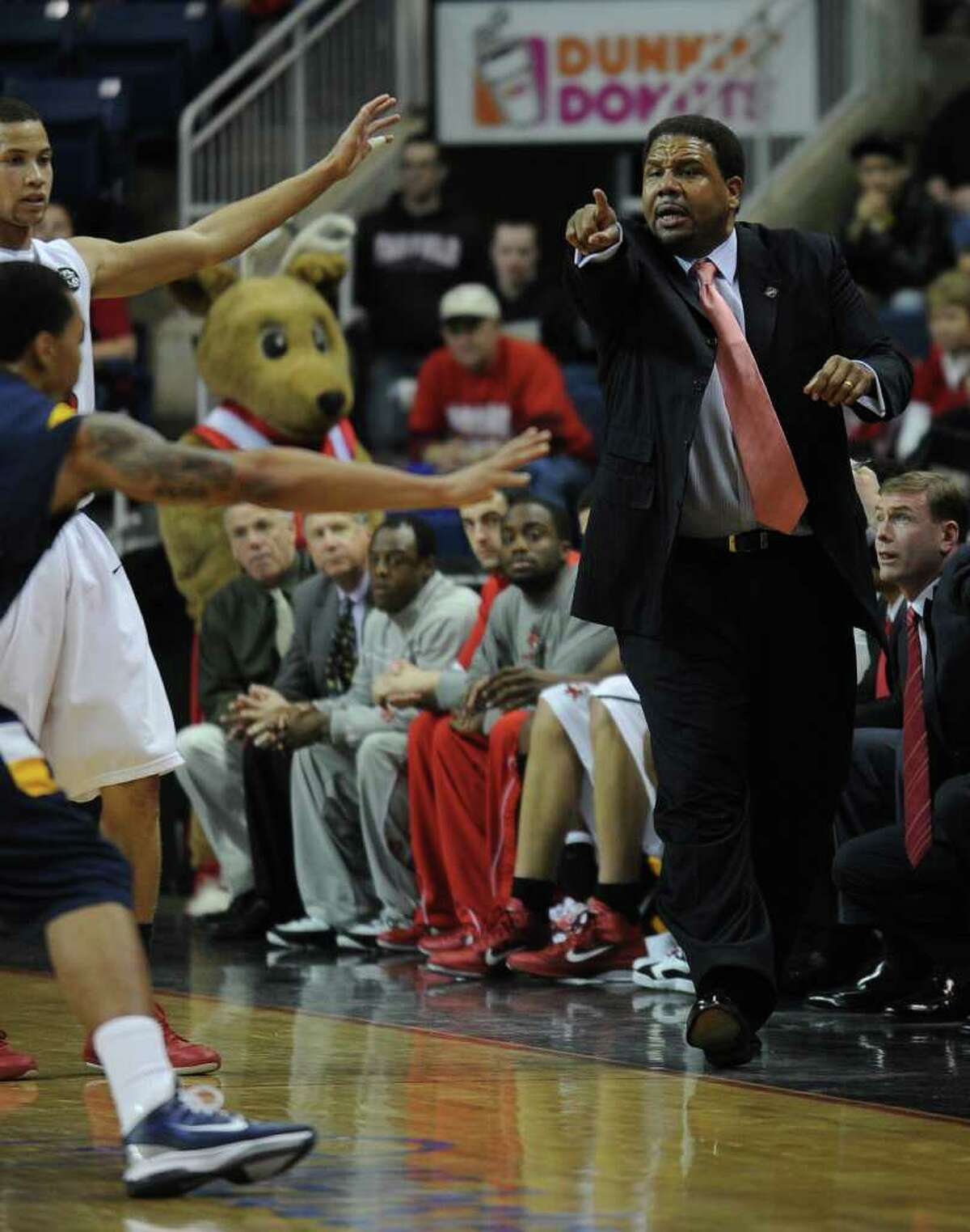 Fairfield University head coach Ed Cooley during the Stags' second round NIT matchup with Kent State at the Webster Bank Arena at Harbor Yard in Bridgeport on Sunday, March 20, 2011.