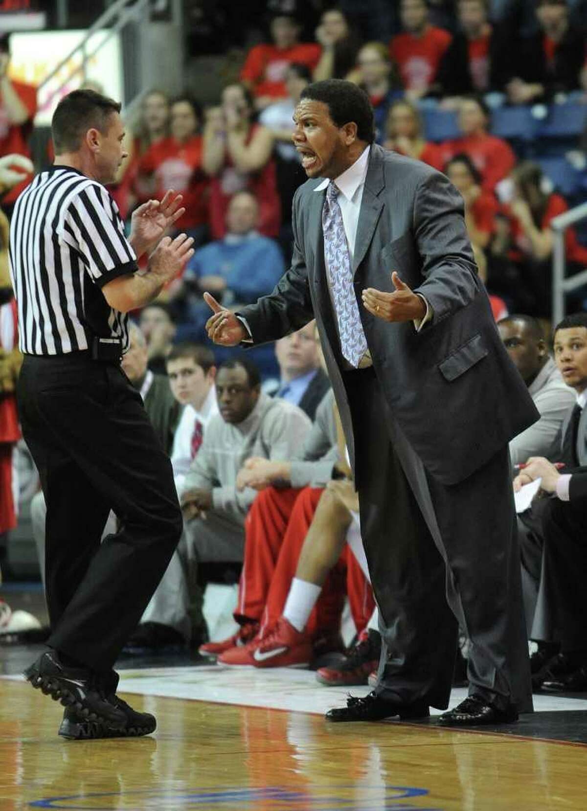 Fairfield head coach Ed Cooley confronts an official during the MAAC men's basketball semifinals at the Webster Bank Arena at Harbor Yard in Bridgeport on Sunday, March 6, 2011. The Fairfield bench received a technical foul.