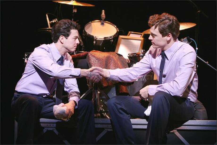 """Jersey Boys"" follows the rise and fall of the Four Seasons' career. Above, Christopher Kale Jones plays Frankie Valli and Erich Bergen is Bob Gaudio. Photo: Joan Marcus"