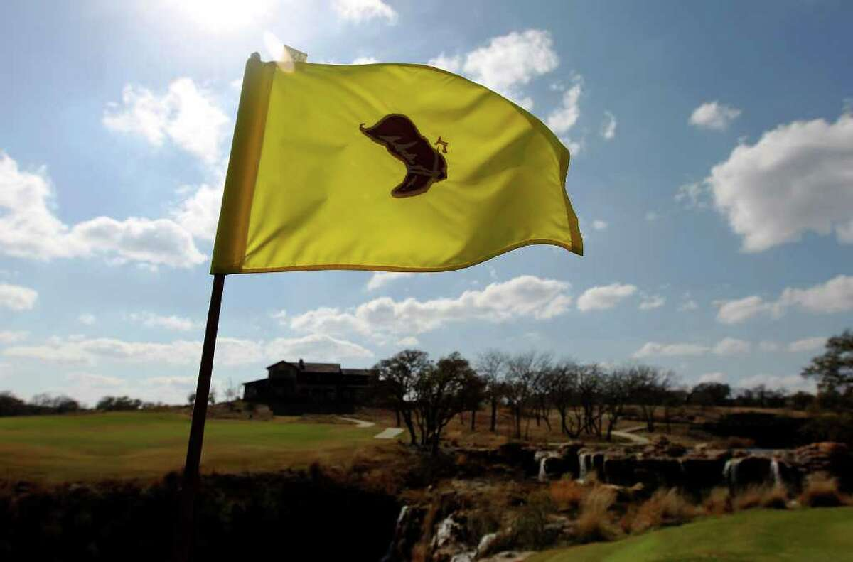 A golf flag with the signature logo for the Boot Ranch golf resort near Fredericksburg.
