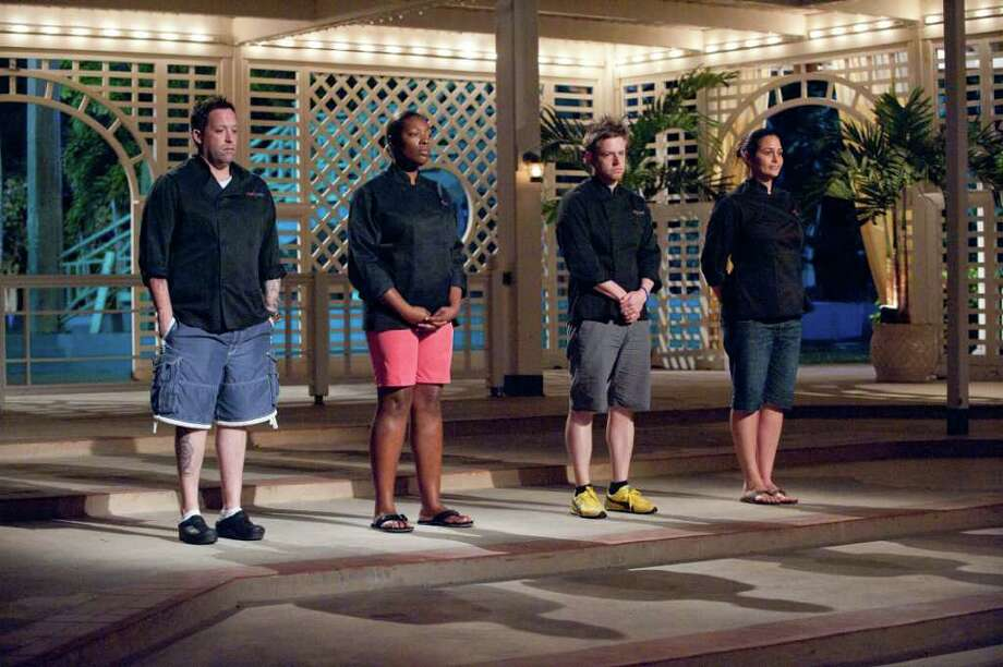 "TOP CHEF -- ""Island Fever"" Episode 814 -- Pictured: (l-r) Michael Isabella, Tiffany Derry, Richard Blais, Antonia Lofaso -- Photo by: Virginia Sherwood/Bravo Photo: Virginia Sherwood / Beaumont"
