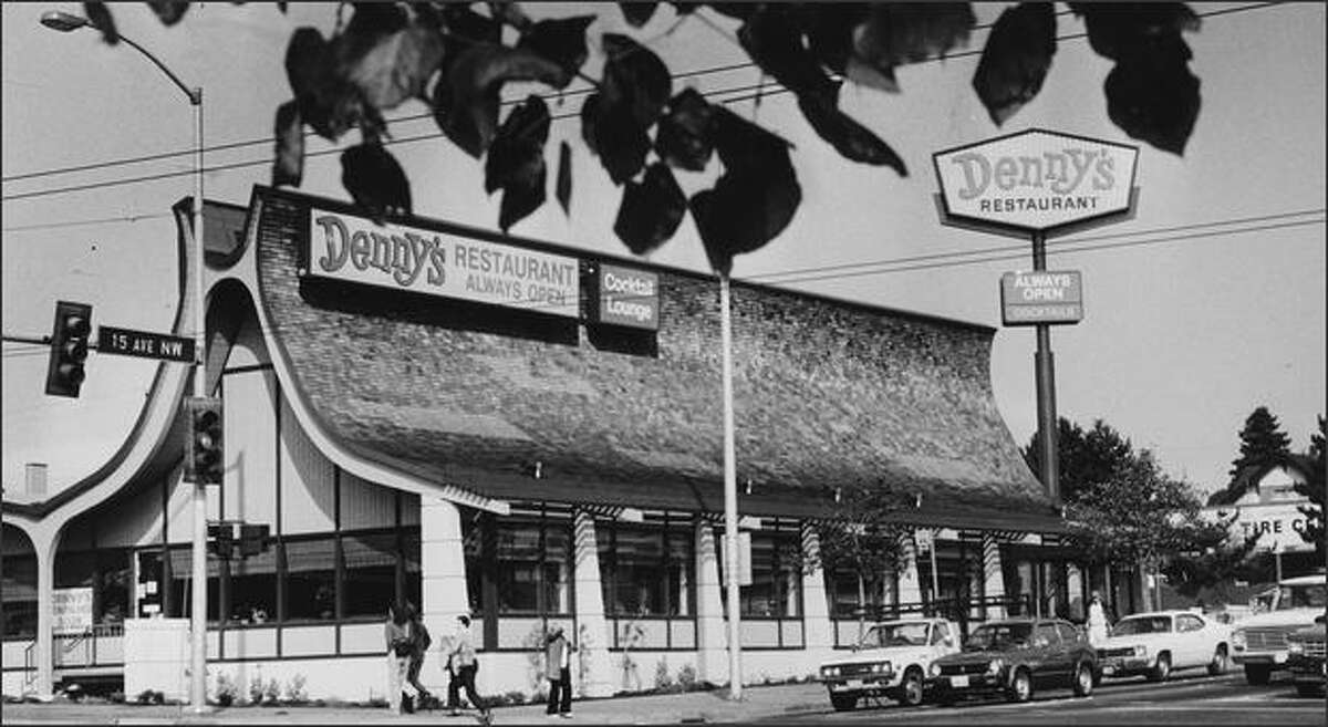 """The restaurant at 15th Avenue Northwest and Northwest Market Street in Ballard was built in 1964 as Manning's Cafeteria. An example of """"Googie"""" architecture, it is shown here the day after reopening as a Denny's in 1984."""