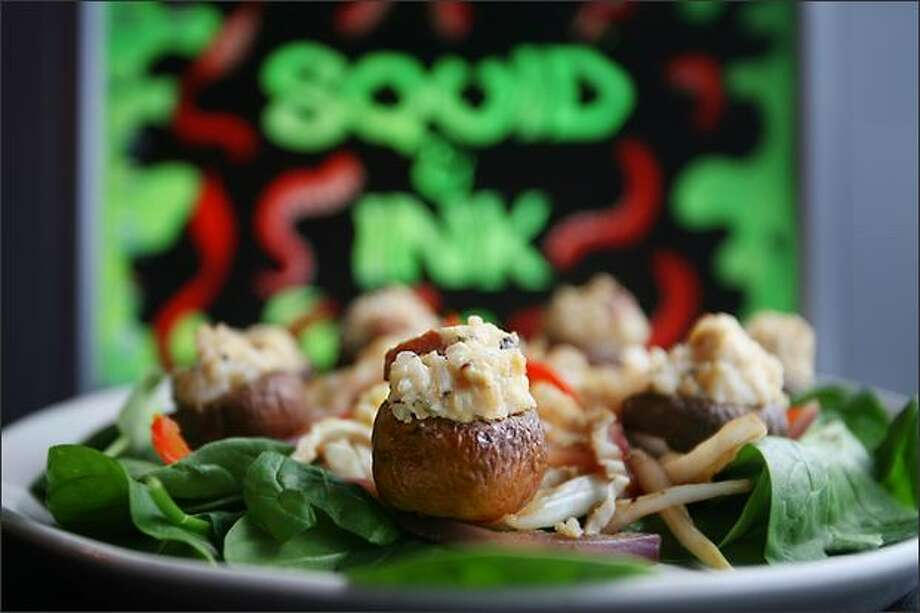 Stuffed mushrooms ($6.50), with seasoned risotto and tempeh sausage. Photo: Scott Eklund/Seattle Post-Intelligencer