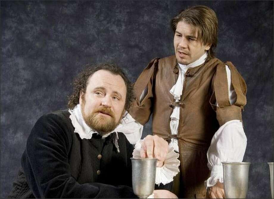 Brandon Whitehead, left (Ben Jonson), and Tim Gouran (William Shakespeare). Jonson had some choice words for his friend. Photo: Erik Stuhaug
