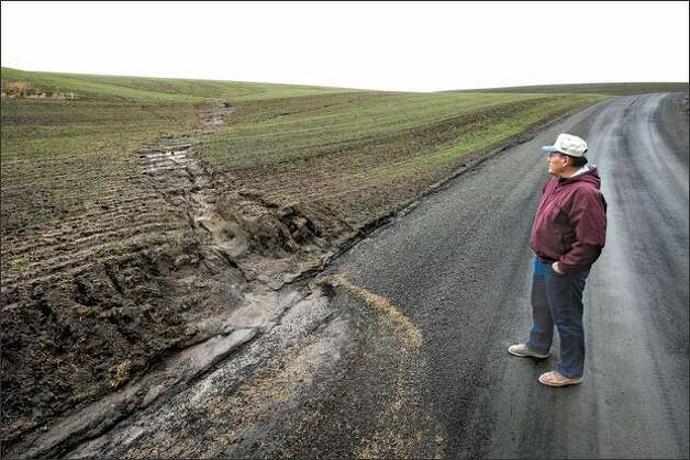 John Aeschliman shows a spot where rain has washed soil from a neighboring farmer's property onto the road. Aeschliman says his method of farming, in which plants are seeded directly into the remains of the previous crop without tilling, gives stability to the soil, enabling it to retain water and preserve the organic matter within it. Photo: Andy Rogers/Seattle Post-Intelligencer