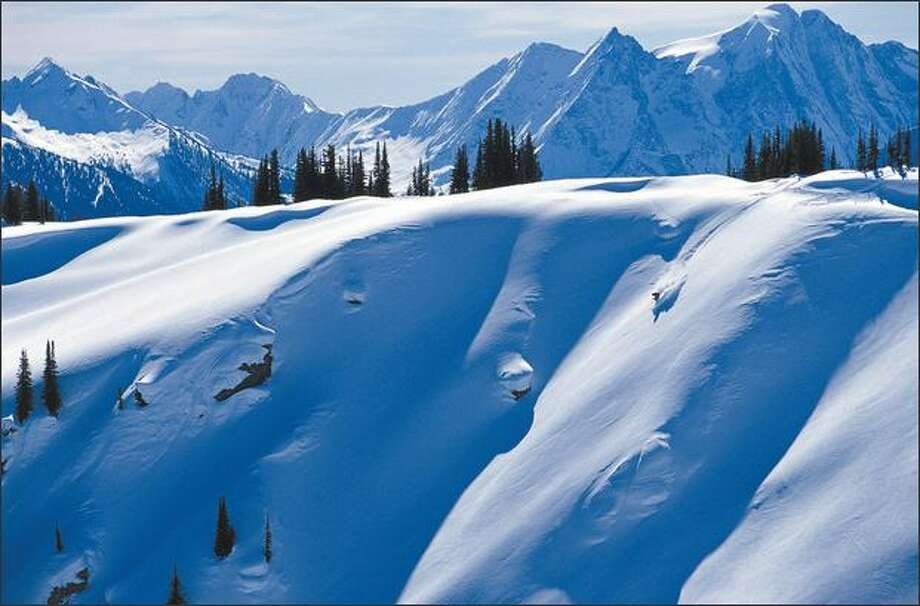 Cat skiing with Selkirk Wilderness Skiing offers challenges and spectacular scenery. Photo: / Tourism B.C.