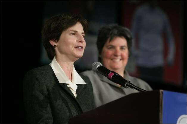 Anne Levinson (left): She is a former municipal court judge, was once a deputy mayor, served as civilian auditor for the Seattle Police Department's Office of Professional Accountability, and was one of three co-owners who kept the WNBA's Seattle Storm in Seattle. Levinson is a consummate just-backstage civic activist, and one of the major brains behind bringing marriage equality to Washington. She was onstage at Benaroya Hall on Dec, 9, donning judicial robes once again to perform marriage ceremonies for two same-sex couples in the middle of a Seattle Men's Chorus concert. Photo: Joshua Trujillo/Seattle Post-Intelligencer