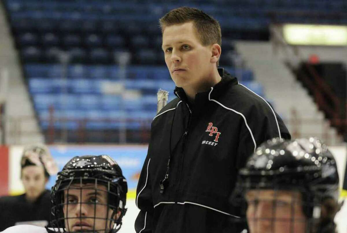 RPI men's hockey head coach Seth Appert during his teams practice at the Houston Field House in Troy March 22, 2011.( Michael P. Farrell/Times Union )
