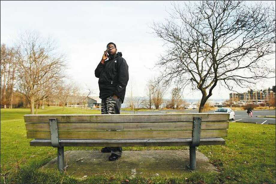 Jermaine James, at top in Beer Sheva Park near Rainier Beach High School, has been looking for a job for two years, but with a felony in his past, most employers fail to call him back. Photo: Mike Kane/P-I