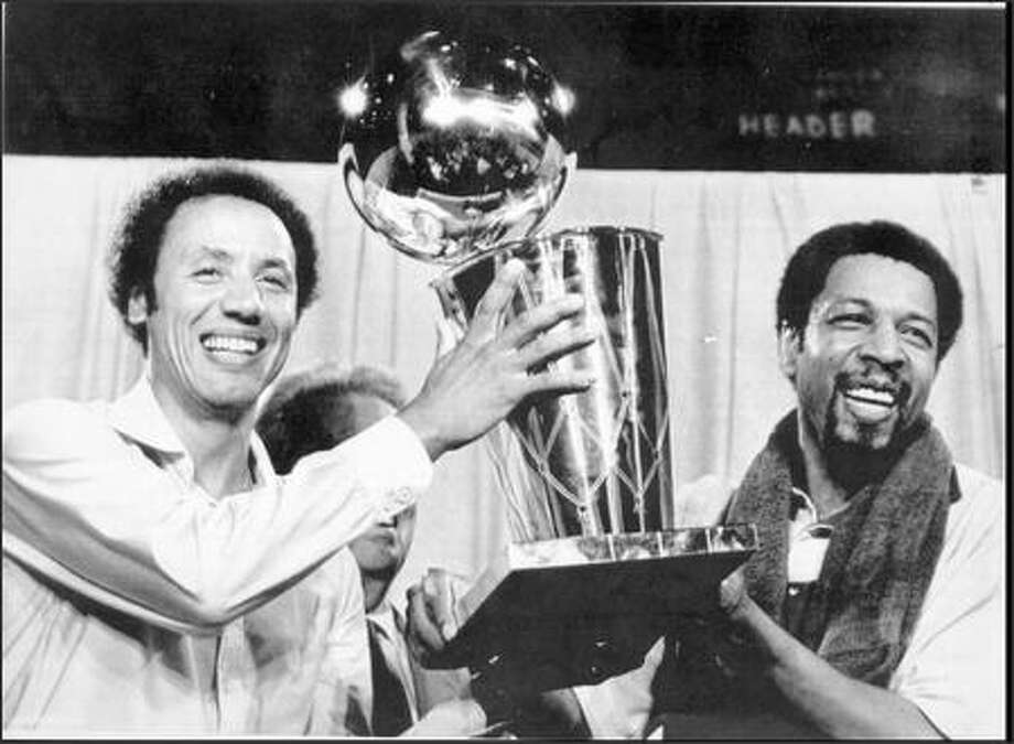 1979: Lenny Wilkens and Fred Brown after Sonics win NBA championship. Photo: Seattle Post-Intelligencer