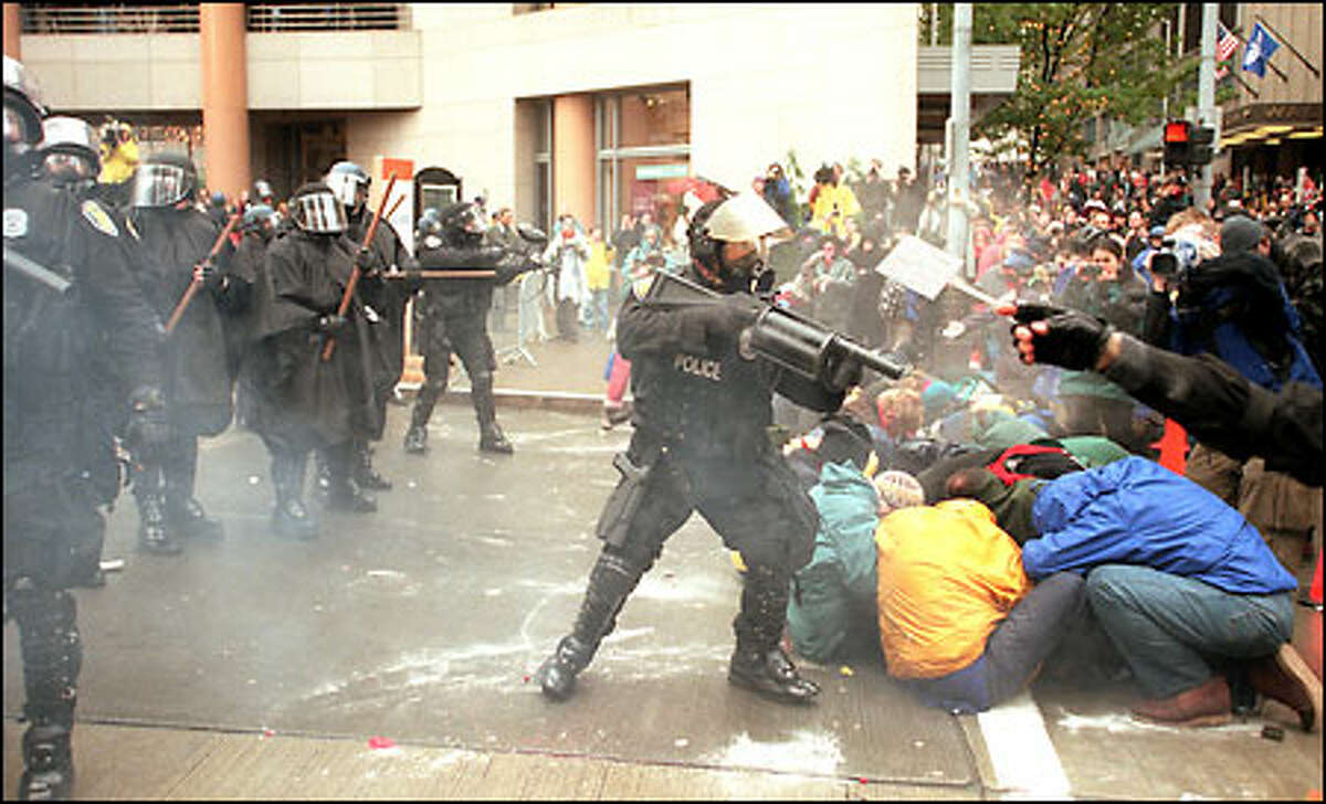 The end of Seattle civility, 1999: Protests by thousands of people against the World Trade Organization's ministerial conference in late November and early December of 1999 brought police out in force; hundreds were arrested, and clouds of tear gas floated in front of businesses as delegates and officials attending the conference fought to gain access to their own meetings. In the aftermath of WTO, Mayor Paul Schell vowed to