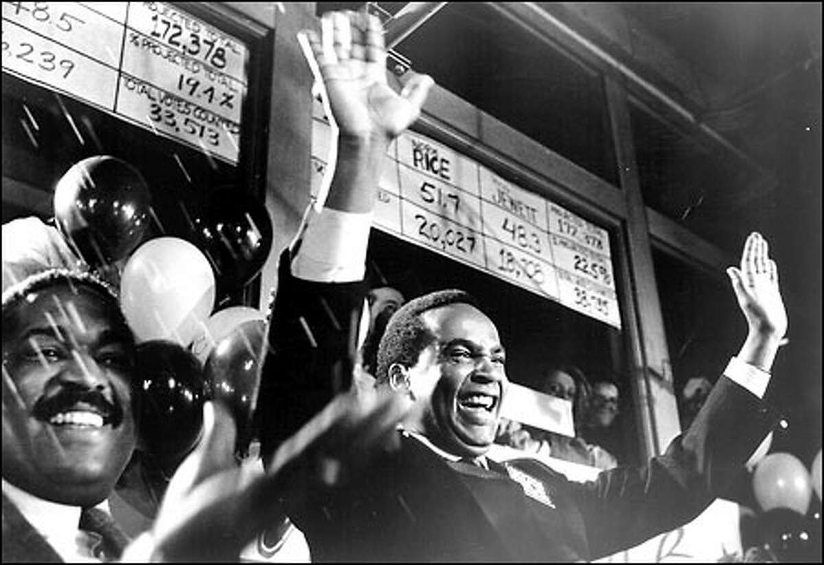 Then-City Councilman Norm Rice is elected Seattle's first black mayor in November 1989, handily beating City Attorney Doug Jewett. Rice, a veteran city councilman, had previously run for mayor in 1985, losing to Charles Royer. Rice served two terms as mayor.