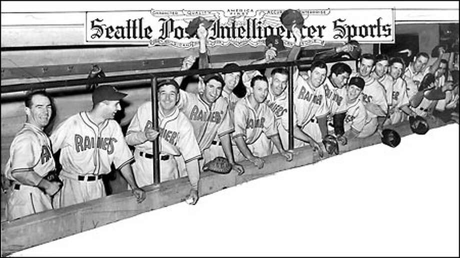 Cellar dwellers no more, 1938: The Seattle Rainiers celebrate their second-place finish in the Pacific Coast League, the happy result of a 100-win, 75-loss season. As the Seattle Indians, the team had struggled though five miserable years before local brewer Emil Sick bought the franchise and renamed it in 1937. Photo: Seattle Post-Intelligencer