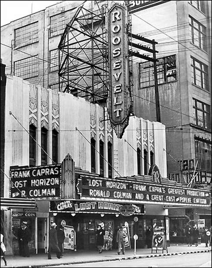 A movie palace of the 1930s: Local movie impresario John Danz opened the Roosevelt Theater, shown in this photo from Sept. 13, 1937, on Pike Street near Fifth Avenue in 1933. It was originally named the Pike Street Theater but was renamed twice, first the Roosevelt and later The Town. It closed in 1984. Photo: Seattle Post-Intelligencer