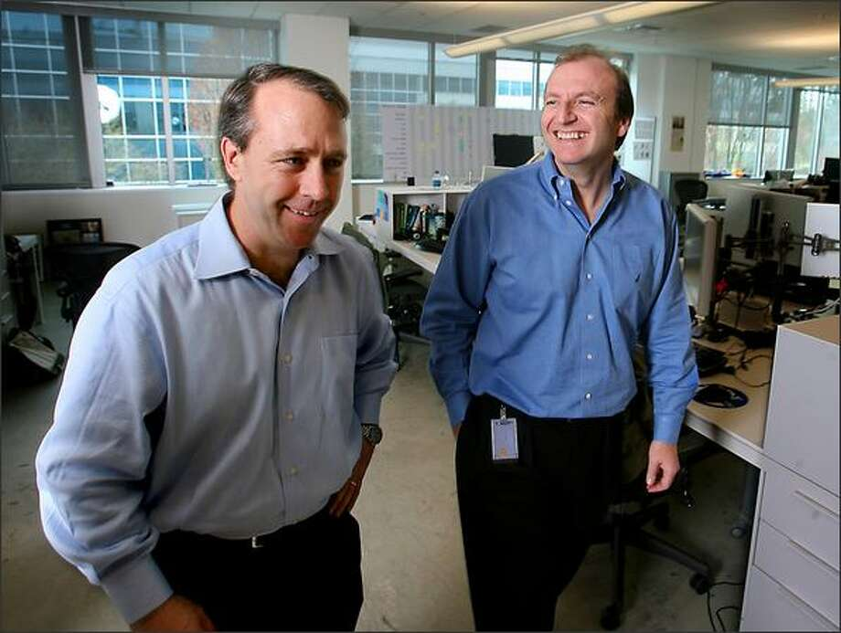 Marketing head Todd Peters, left, and Windows Mobile chief Andy Lees are working to replicate Windows Mobile's success in the business sector by expanding its appeal to the consumer market. Both were appointed in recent weeks to their new positions in the Windows Mobile unit. Photo: Scott Eklund/Seattle Post-Intelligencer
