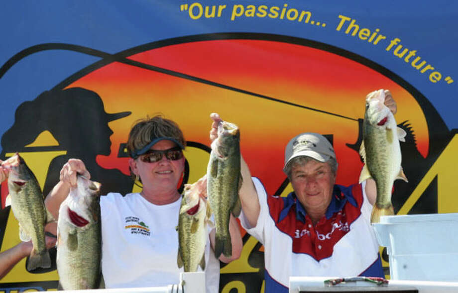 LBAA Sam Rayburn Rainbow Room Charity Tournament winners Sue Crochet (L) and Tommie Domingue (R) with fish.  Photo courtesy of LBAA Photo: Patty Lenderman
