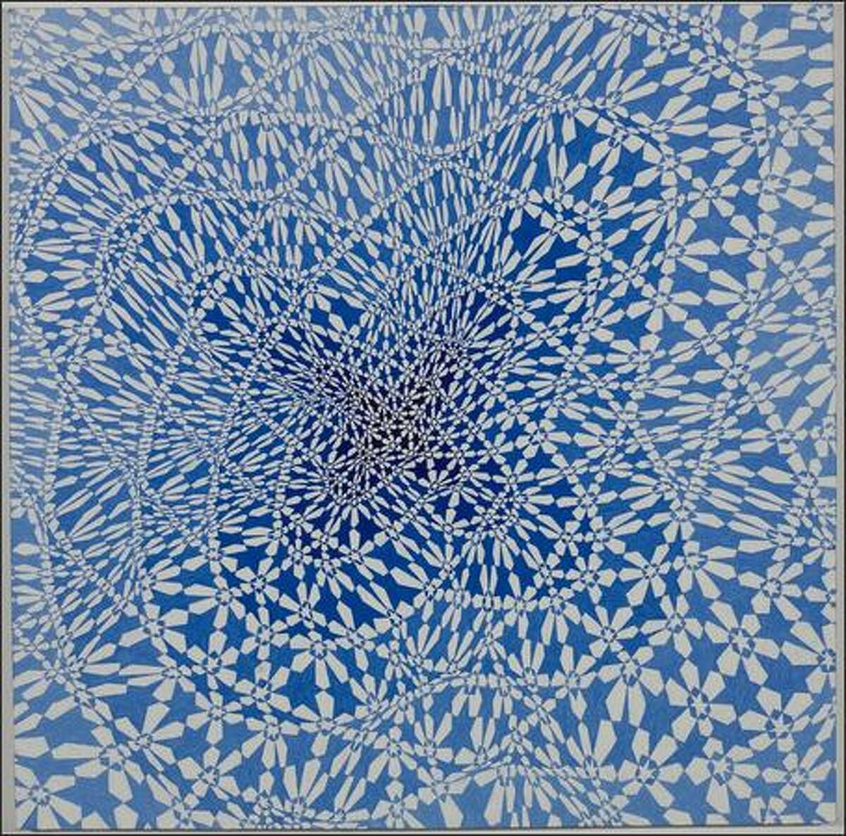 """Michael Knutson's """"Crossing Oval Coils VII"""" oil painting is on view at Greg Kucera Gallery."""