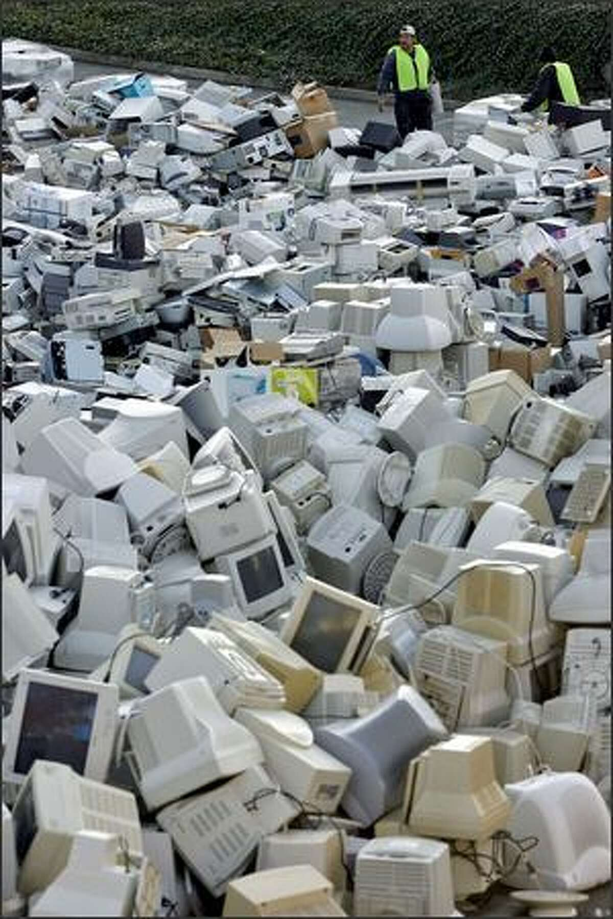 The amount of electronic waste brought to a free recycling event at Seattle Pacific University far exceeded what organizer Jason Purcell expected.