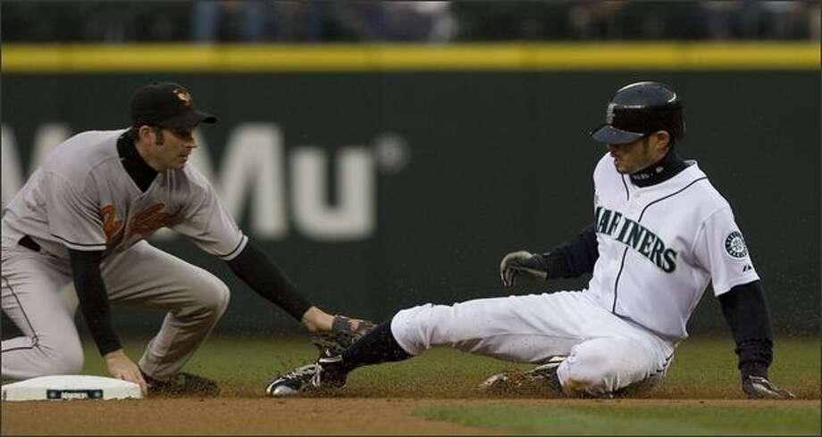Orioles second baseman Brian Roberts tags Ichiro Suzuki. Photo: Grant M. Haller/Seattle Post-Intelligencer